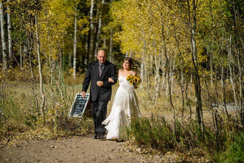 father walking bride to aisle aspen trees outdoor wedding