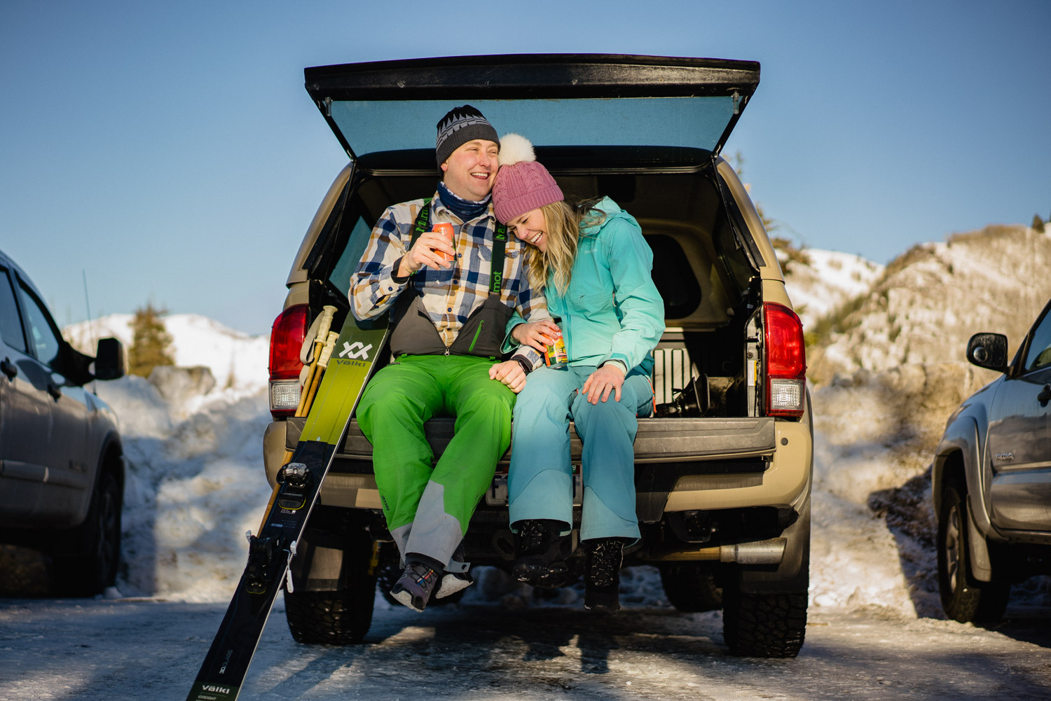 happy couple tailgating utah ski resort engagements