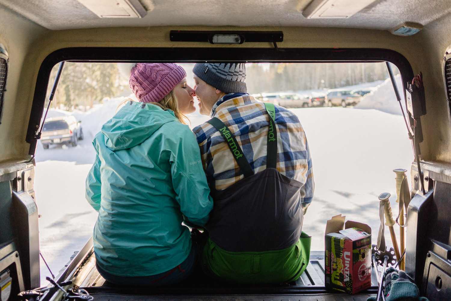 tailgate kiss utah ski resort engagements
