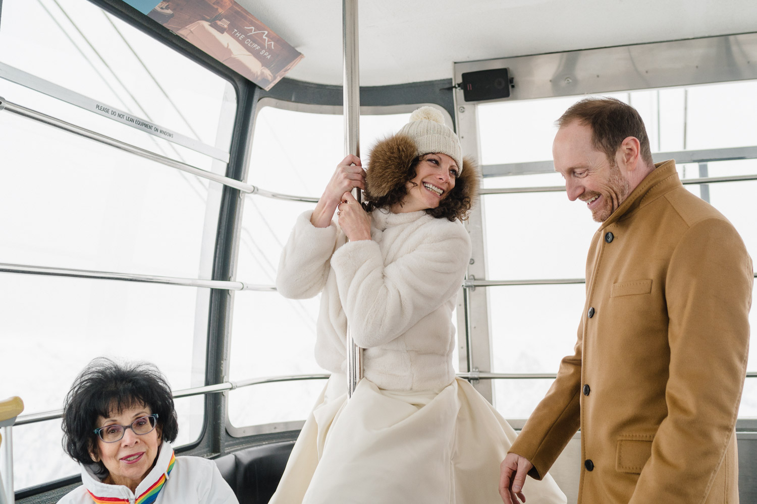 bride and groom with family tram ride snowbird resort