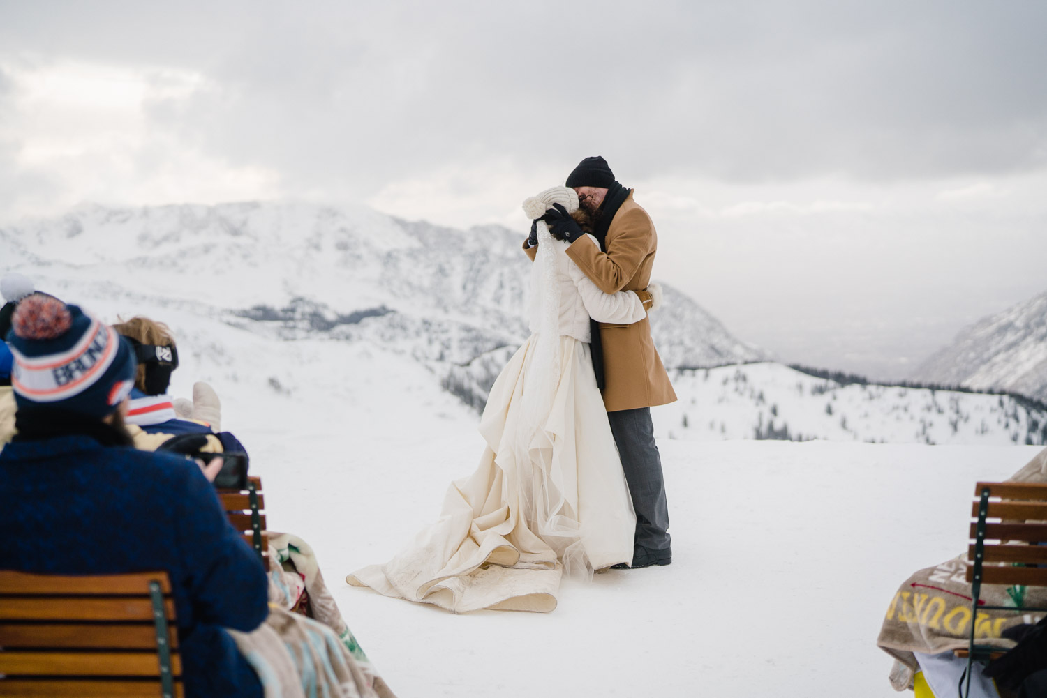bride and groom first kiss at wedding ceremony at snowbird resort