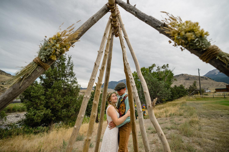 Yellowstone National Park Wedding couple outside